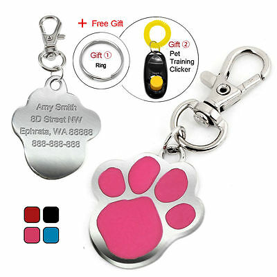 Paw Print Custom Engraved Dog Tags Pet Cat ID Tag Personalized Name Free Clicker