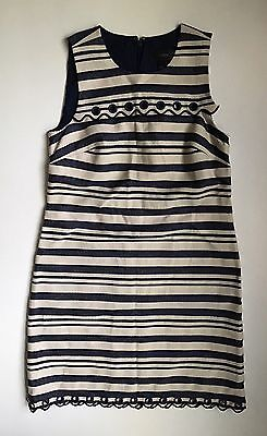29487907614 J.Crew  138 Striped Scalloped Dress with Grommets NWT Navy Multi 2 NWT E8993