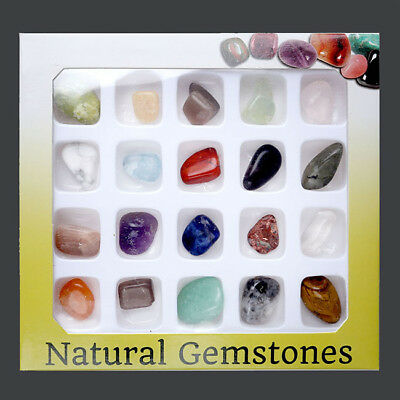 20pcs Crystal Gemstone Reiki Polished Healing Chakra Stone Collection Set Gift