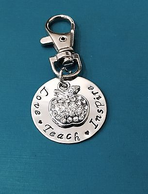 personalised hand stamped 30mm Disc Teachers Or Student Gift On Keychain Chain