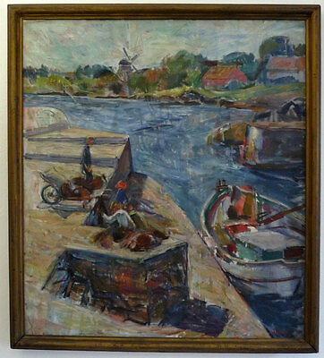 In The Fishing Harbour, Expressionist, 1930