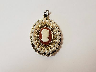 Vintage Gold Tone Plastic Faux Pearl Cameo Necklace Pendant Charm Victorian Lady