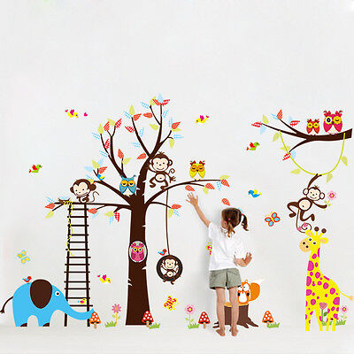 Jungle Monkey Nursery Wall Stickers Removable DIY Kids Room Decor Mural