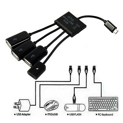 4 in 1 Micro USB Hub Male to Female Three USB 2.0 Host OTG Adapter Cable Black