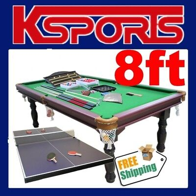 Traditional Pub Size Pool Table 8Ft Snooker Billiard Table With Table Tennis Top