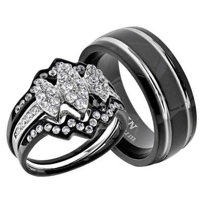 His Hers 4 Pc Black Stainless Steel & Titanium Wedding Engagement Ring Set co