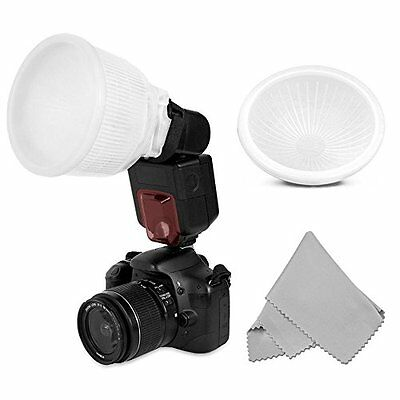 Universal Cloud lambency flash diffuser+White dome cover fits all flashes Set UK