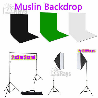 Photography Muslin Backdrop Photo Background Stand Studio Softbox Light series