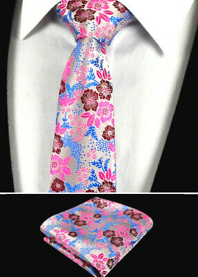 Mens Fuschia Pink Purple Blue Tie Wedding Floral Paisley Silk Hanky Handkerchief