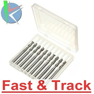 Frese 10Pcs 1/8inch  2 Flute Carbide Endmills For Wood Or Plastic Work CNC