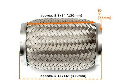 "Universal 3"" Front Exhaust Flex Pipe Tube 130mm Stainless Steel Mesh 76x150mm_"