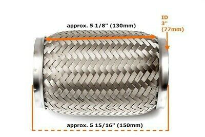 """Universal 3"""" Front Exhaust Flex Pipe Tube Stainless Steel Mesh 76x150mm (130mm)_"""