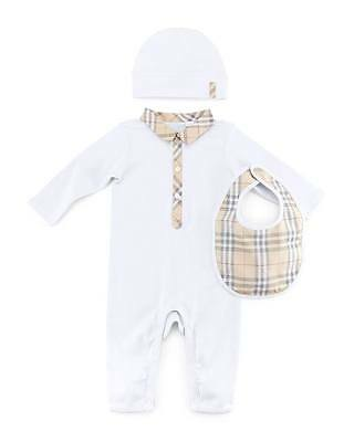 Burberry Infant Baby Carlos Boxed White Bodysuit, Hat & Bib Set New 12m