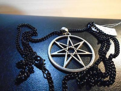 "SILVER SEPTAGRAM pendant necklace 27"" CHAIN Hi Quality PAGAN MAGIC JEWELLERY."