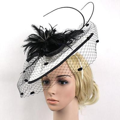 White Black Large Feather Fascinator Hat Headband Church Kentucky Derby Hat 02dbdefc651