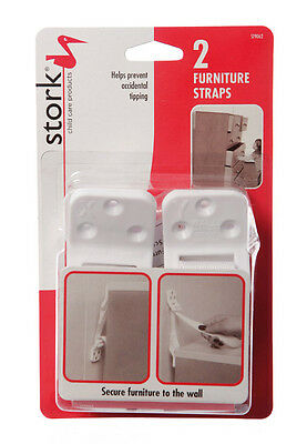 Stork Toddler Child Safety Furniture Wall Strap X2 Pack - New