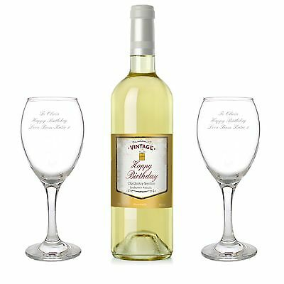 Personalised Wine Glasses & Bottle Of White Wine - Birthday, For Her, For Him