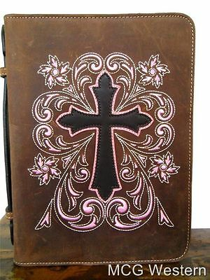Nocona Western Bible Cover Case Cross Floral Brown Pink 0651644