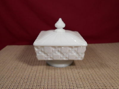 "Vintage Westmoreland Glass Old Quilt Milk Glass Candy Dish 4 3/4"" Sq. x 5"" T"