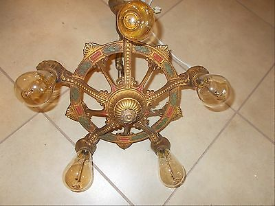 Gorgeous Art Deco Ceiling Fixture, Original Color, 5 Edison Squirrel Cage Bulbs
