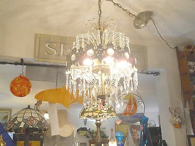 Antique Round 6 bulb chandelier with 6 levels of faceted cyrstal  prisms,