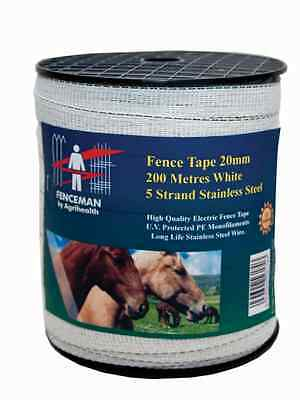 Fenceman Electric Fence White Tape 20mm x 200m