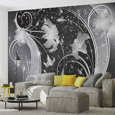 WALL MURAL Floral Abstract Silver Grey Black XXL PHOTO WALLPAPER (2343DC)