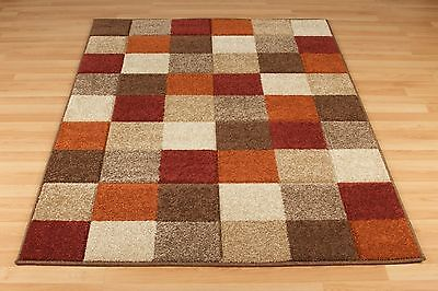 Checked BROWN BEIGE RED Easycare Modern Contemporary Rug Runner S- Large -30%OFF