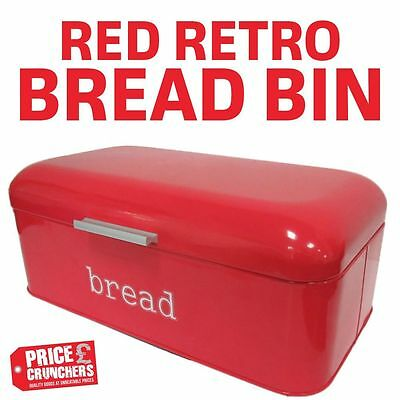 Red Bread Bin Retro Kitchen Food Storage Box Large Steel Vintage Loaf Roll Jar