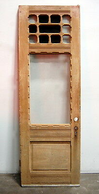 "Antique 1890s Queen Anne Pine Stripped Entry Door, for a 32"" x 95"" Jamb"