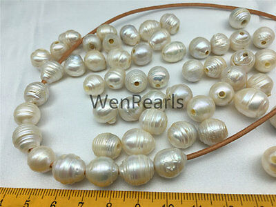 AA 10-12x11-13mm White Drop freshwater Pearl,30 beads,2mm large hole
