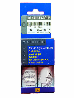 Renault Dacia Touch Up Paint Stick Set Base Coat Clear Varnish Polar Grey 632