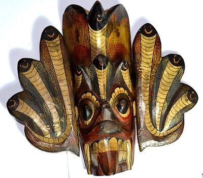 Vintage Sri Lanka Raksha Mask, Wood, Hand Painted