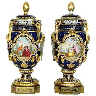 Pair Antique Sevres Style Polychrome and Gilded Porcelain Vases