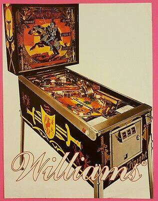 BLACK KNIGHT by WILLIAMS RARE ORIGINAL PINBALL ARCADE GAME SALES FLYER BROCHURE