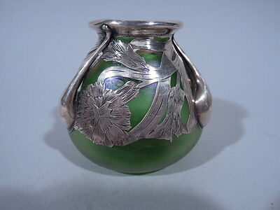 Alvin Vase - 3418 - Small Bud - American Iridescent Green Glass & Silver Overlay