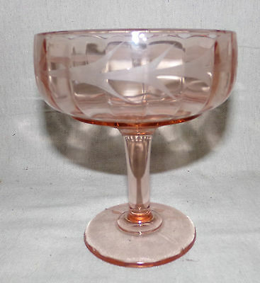 Tall Mckee Glass Pink Depression Art Deco Etched Stem Open Candy Dish Compote