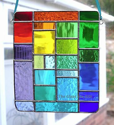Large Rainbow Multi Colour Panel Stained Glass Art Suncatcher By The Glass Sea