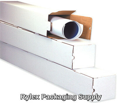 50  3x3x25 White Box Corrugated Square Mailing Tube Shipping Storage