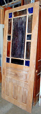 """Antique 1890s Stripped Queen Anne Pine Entry Door, for a 36"""" x 90"""" Jamb"""