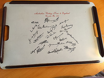 1953 Australian visiting Team Ashes preprinted signatures on Tray Novelty & rare