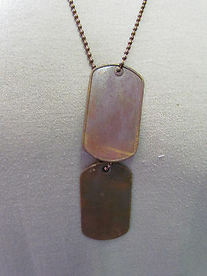 Aged Brass  Dog Tags - W/ Aged Chains - Made On Wwii Original Machine.  Set