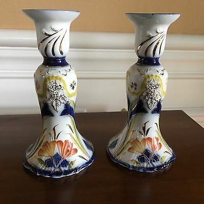 Antique Flow Blue Porcelain Candlestick Candle Holders German Marked