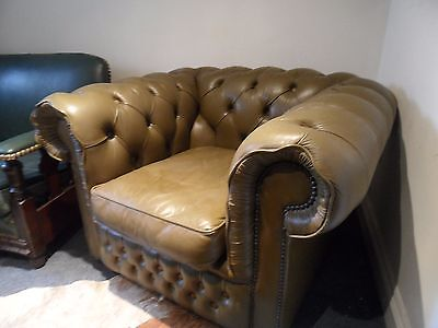 Vintage Retro Leather Buttoned Loft CHESTERFIELD Tub Club Olive Green Armchair