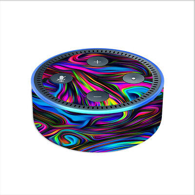 Skin Decal for Amazon Echo Dot (2nd gen) / Neon Color Swirl Glass