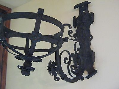Georgian 1800-1825  Wrought Iron Hanging Fire Basket Lamp/torch.fantastic Find.