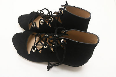 0c6689fdf68d J Crew Women s Laila Lace-Up Wedges In Suede Black Item E7658 Size 6.5 New