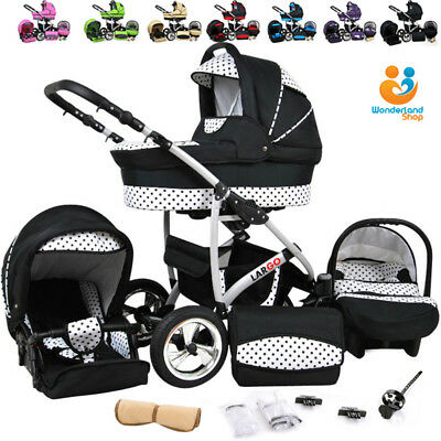 Baby Pram Pushchair Stroller Car Seat Carrycot Travel System Buggy 23 COLOURS