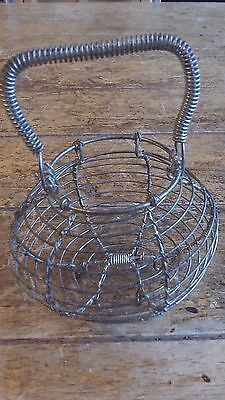 French Vintage Small  Metal Wire Basket fixed handle