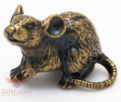 Solid Brass Figurine of Mouse Mice Rat Talisman IronWork